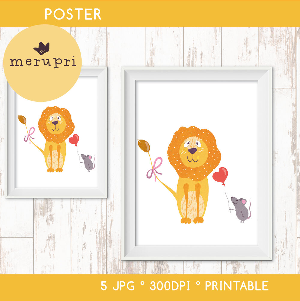 """Poster """"Lion with Mouse"""""""