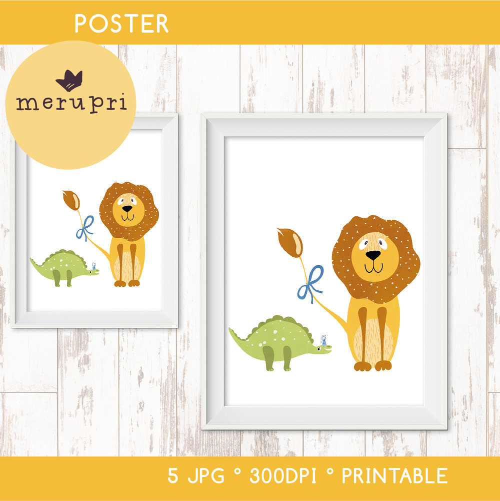 """Poster """"Lion with Dino"""""""