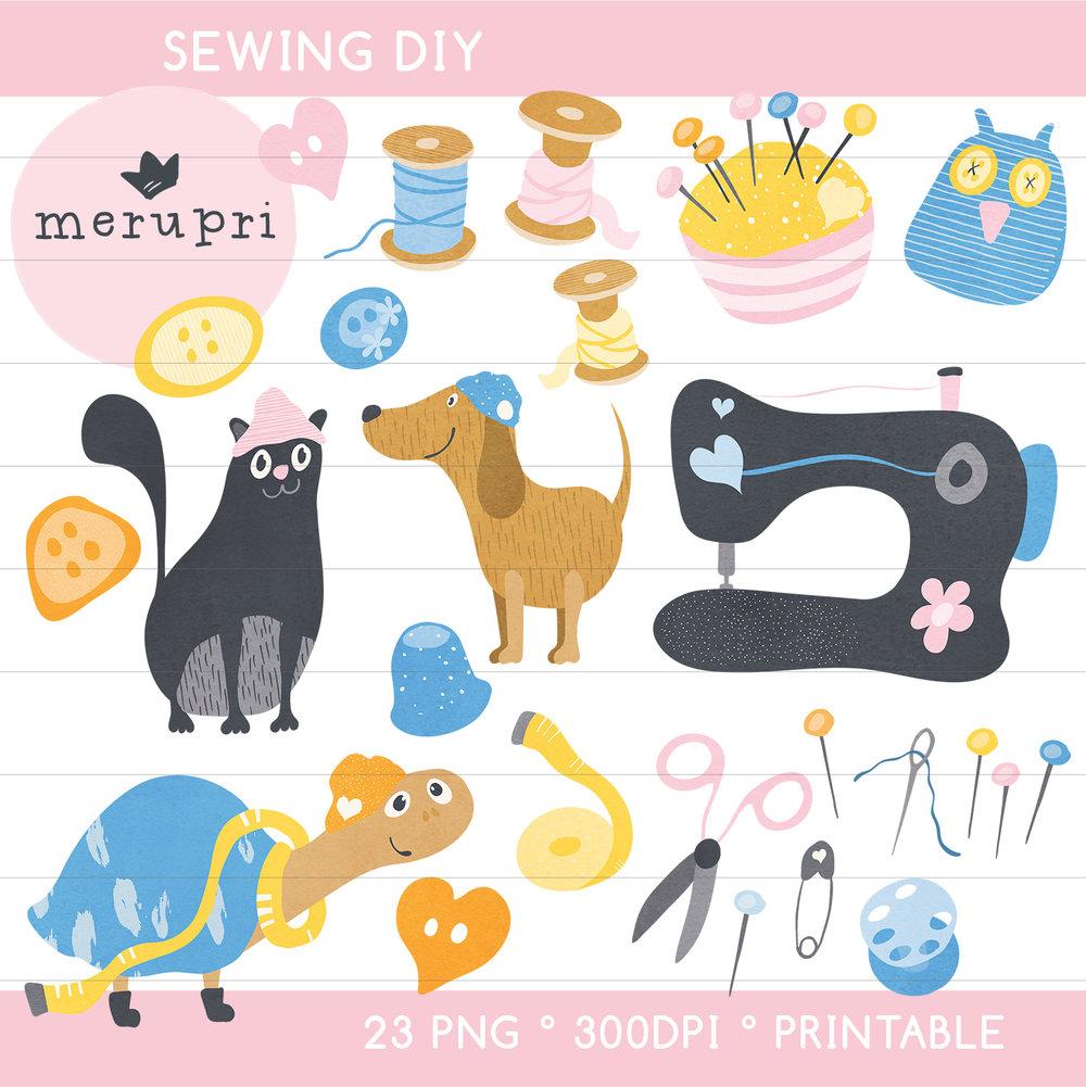 """Clip Art Set """"Sewing"""""""