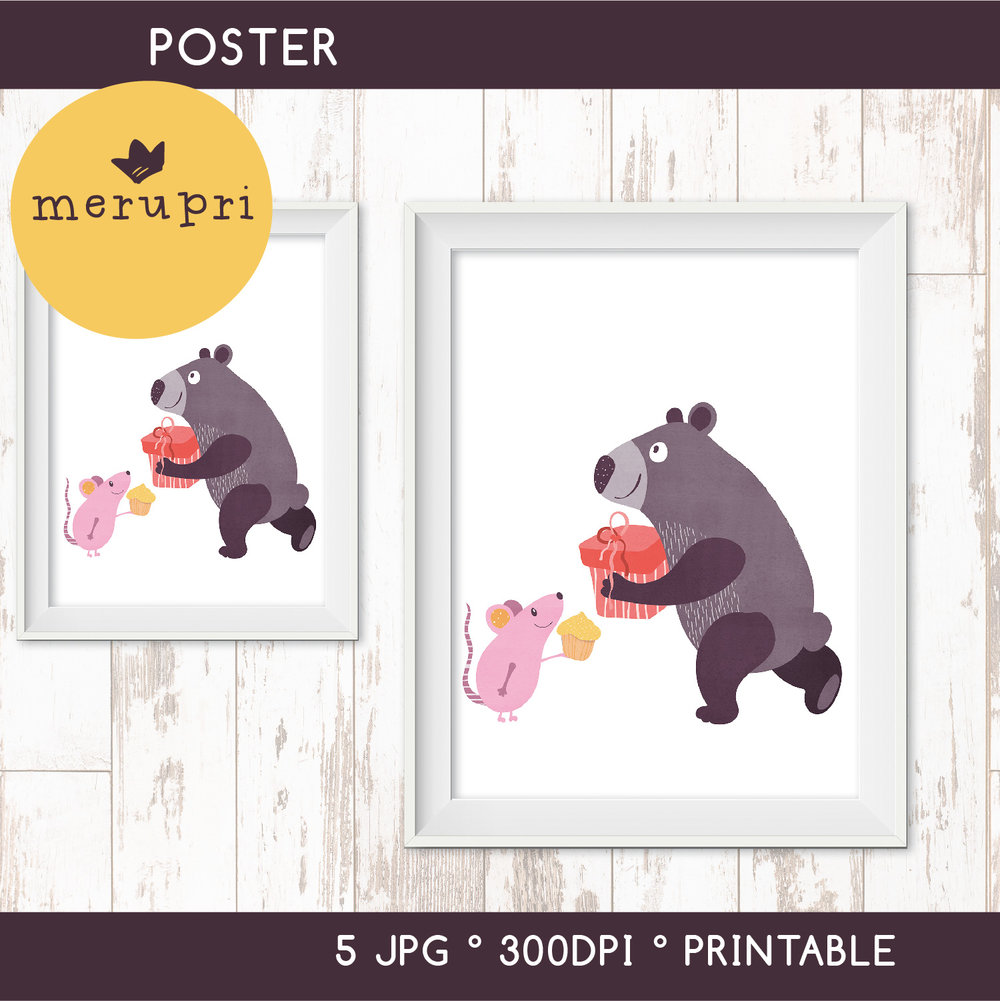 """Poster """"Bear with Mouse"""""""
