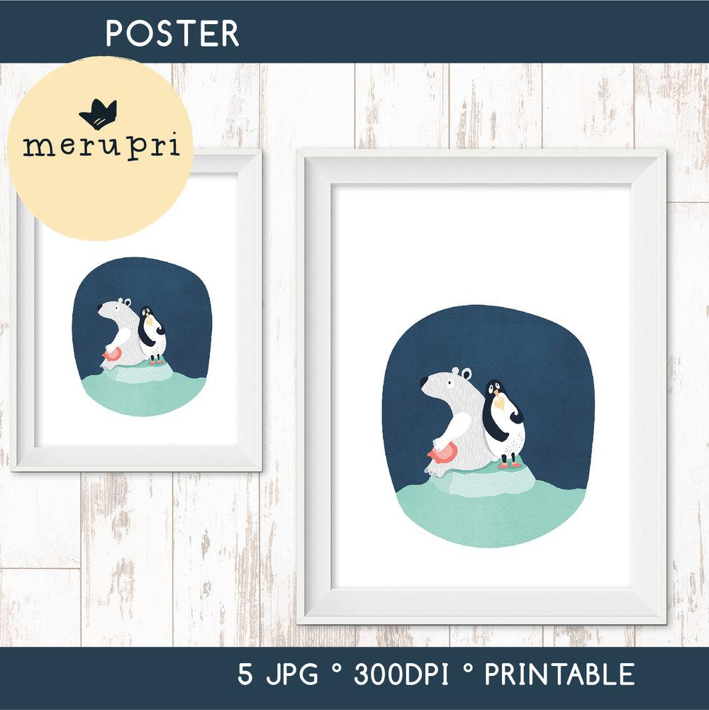 "Poster ""Polar Bear with Penguin"""