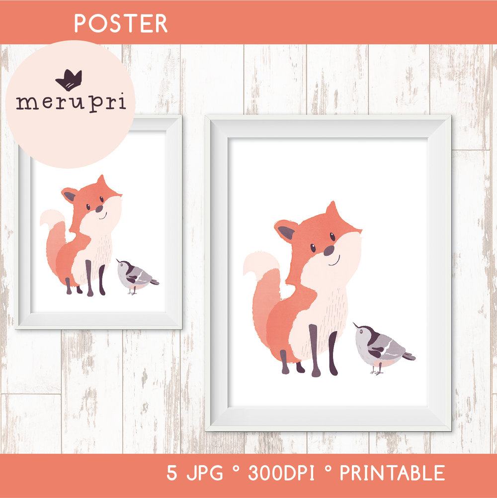 """Poster """"Fox with Bird"""""""
