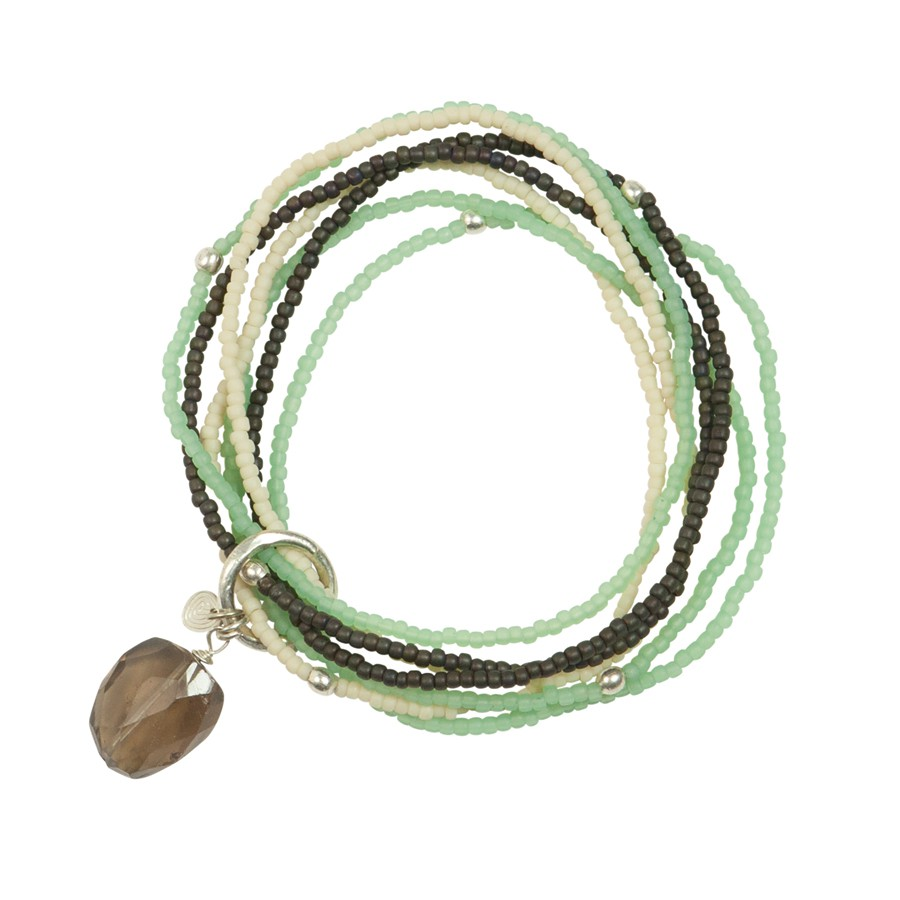 A Beautiful Story - Nirmala Smokey Quartz mix silver bracelet