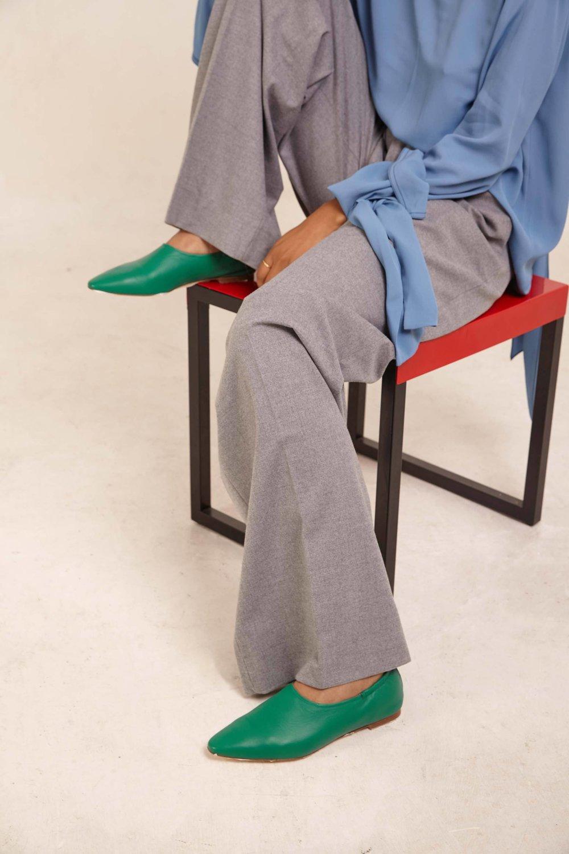 Miista - Georgette Green Leather Flats