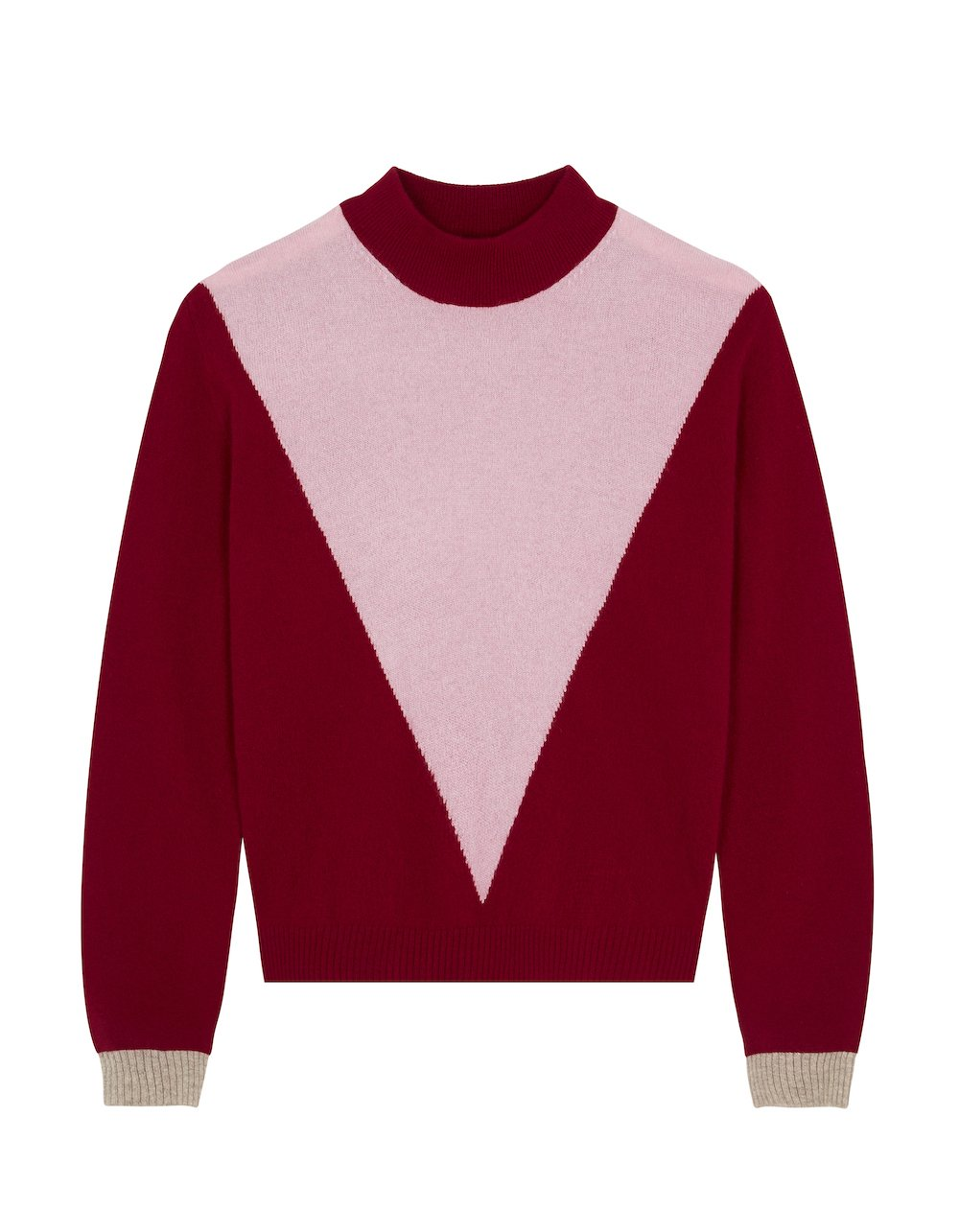 MAKEDA MATHESON- INTARSIA V SWEATER PINK BERRY