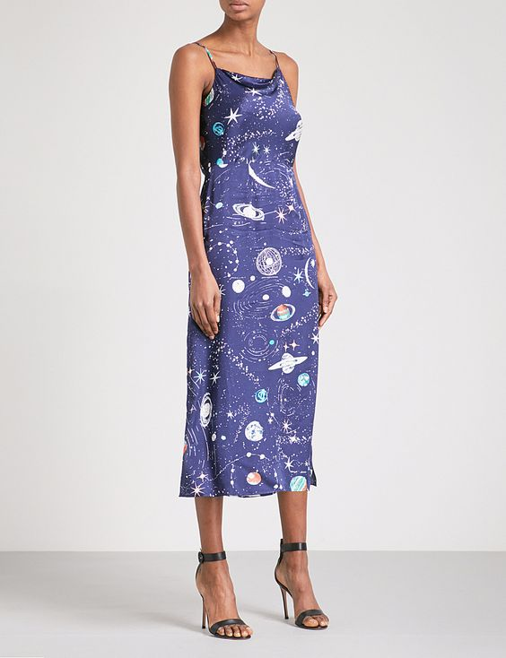 Rixo Tessa Cosmic Constellation Silk Cami Dress