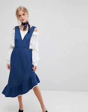 Current Air Denim Midi Dress with Raw Hem Ruffle