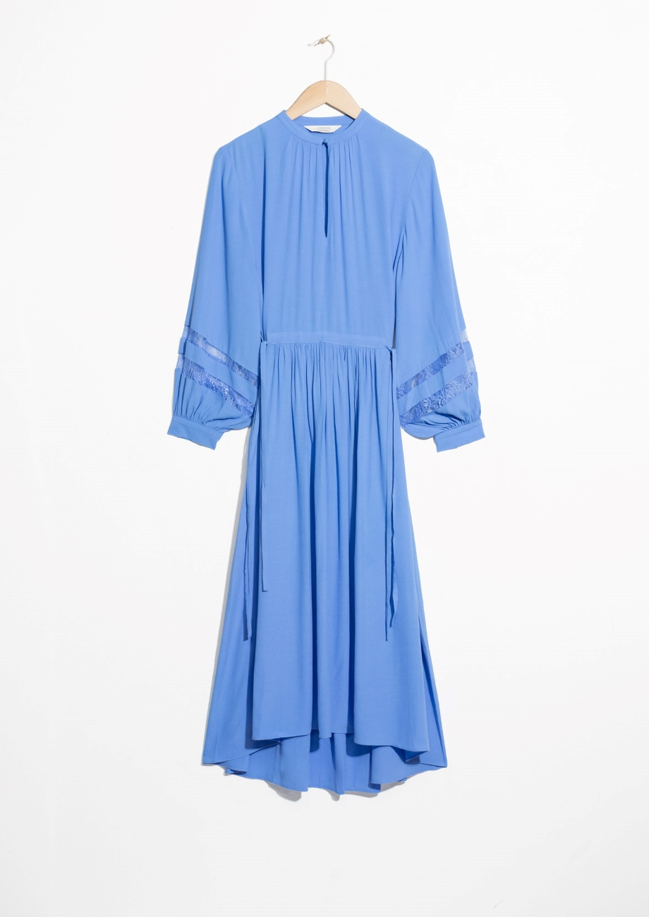 & Other Stories Drawstring Waist Midi Dress
