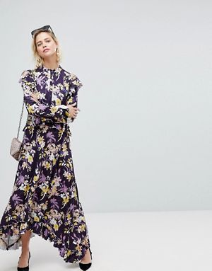 Warehouse Floral Print Frill Edge Maxi Dress