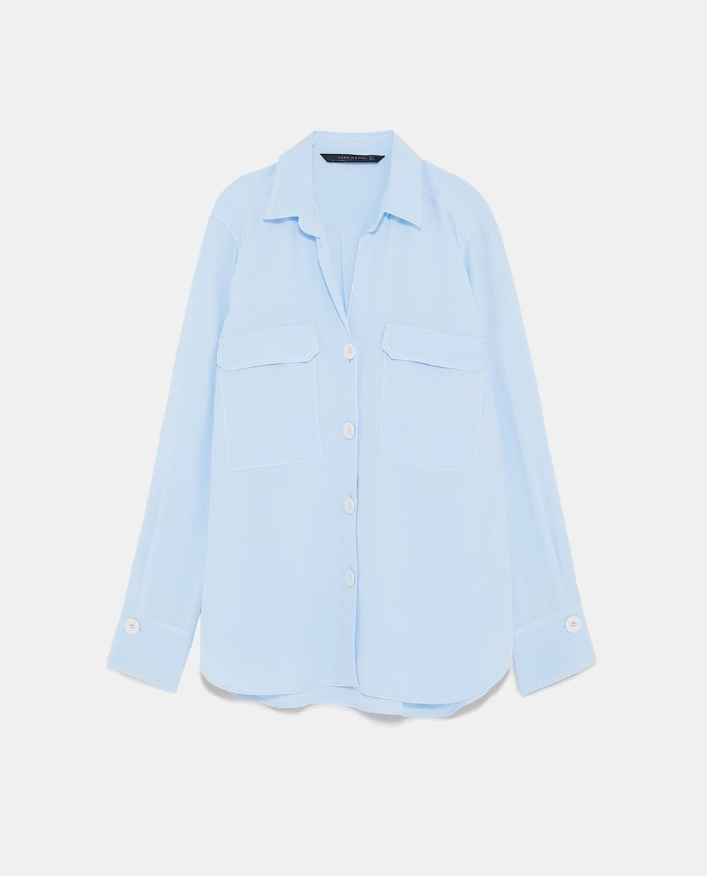 Zara Shirt with Contrasting Topstitching
