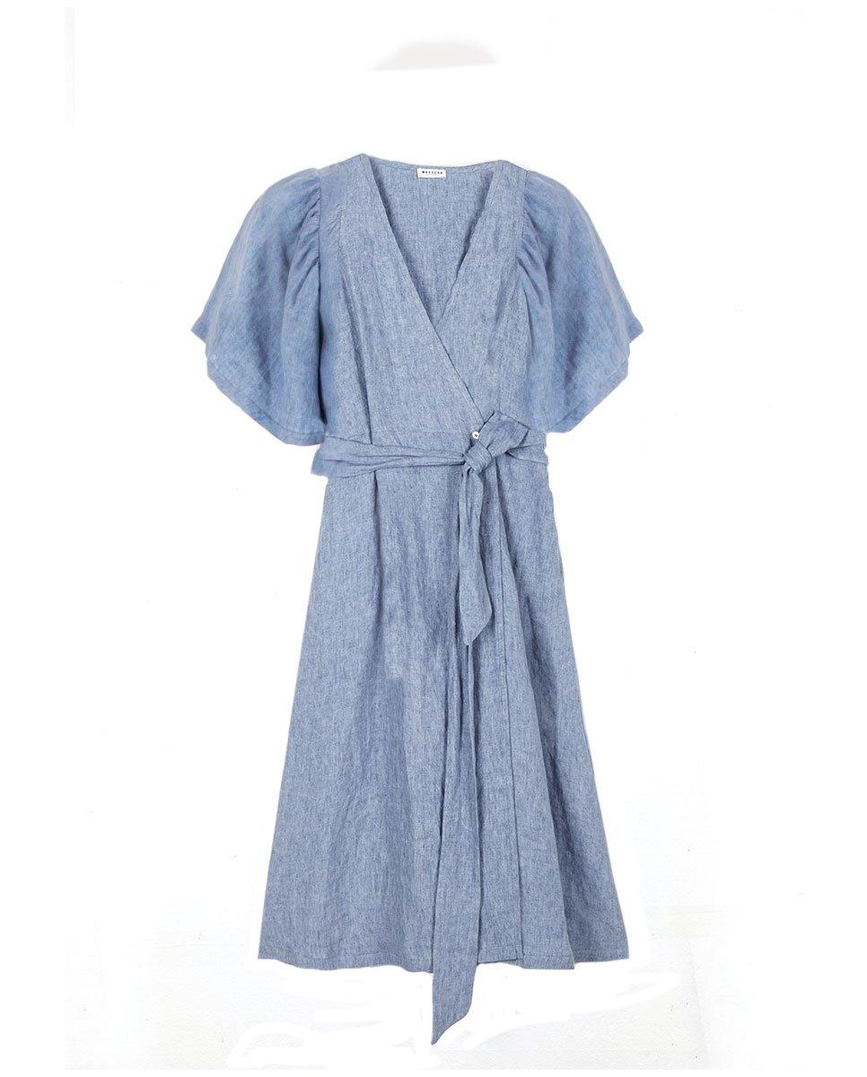 Masscob Line Wrap Dress Blue