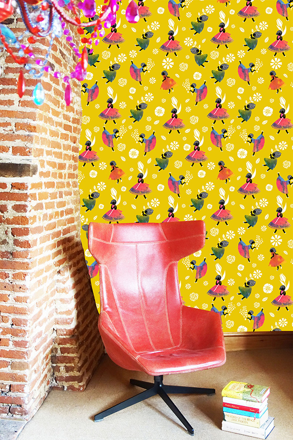 'FLOWER GIRLS' NON WOVEN WALLPAPER – YELLOW