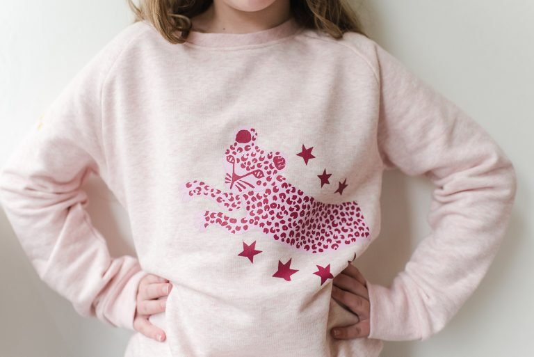 'LEAPING LEOPARD' ORGANIC COTTON KIDS SWEATSHIRT