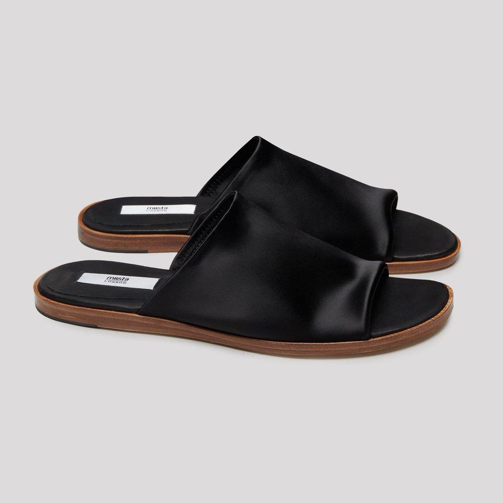 Miista Agnes Black Lycra Sandals