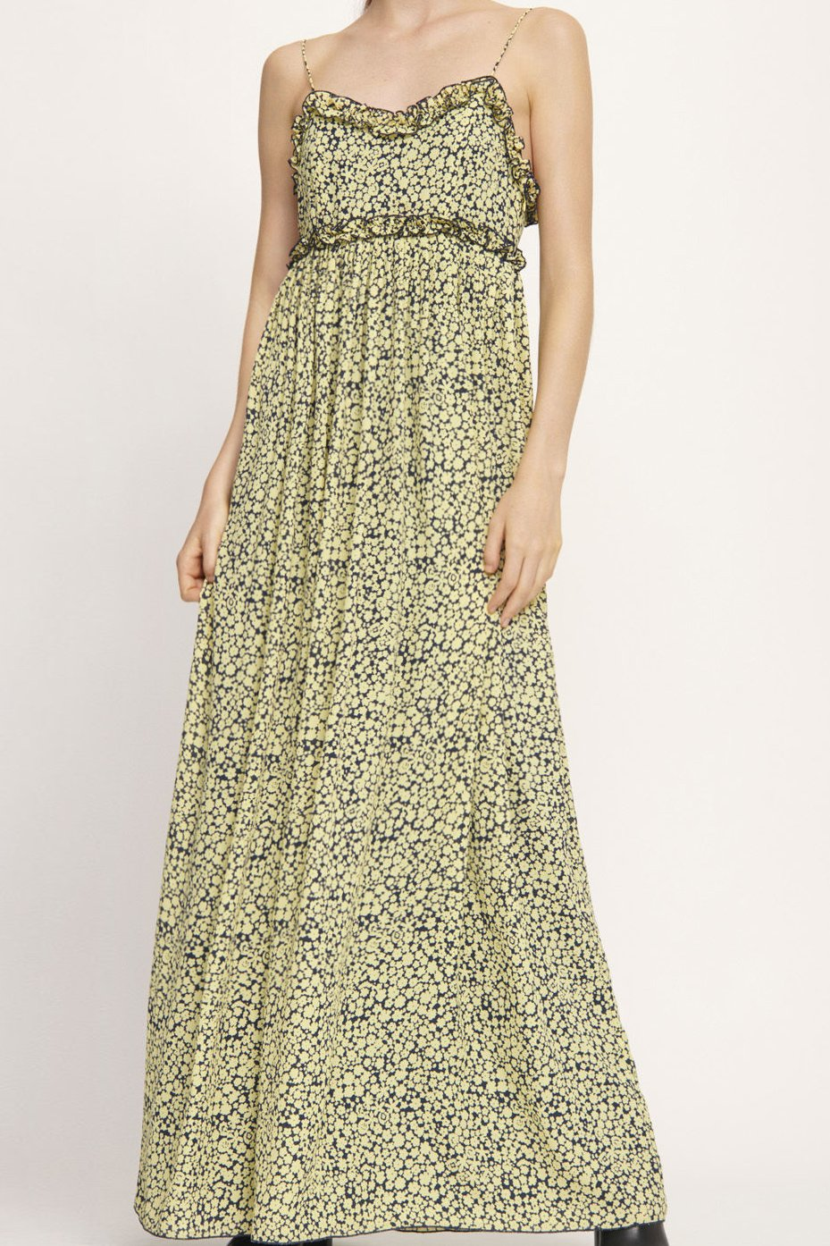 YELLOW AND NAVY FLORAL PRINT SPAGHETTI STRAP MAXI DRESS
