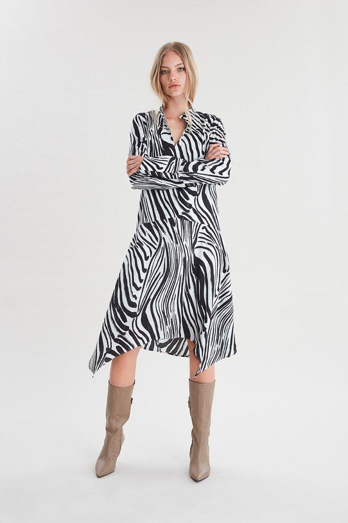 BLACK AND CREAM ZEBRA PRINT LONG SLEEVE DRESS