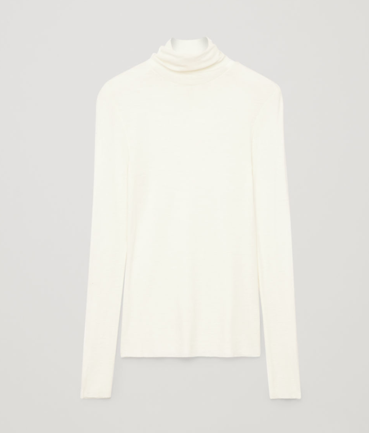 COS Fine Roll Neck Wool Top