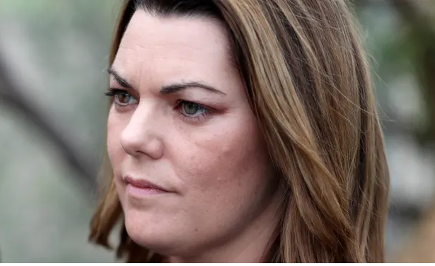 Speaking at a protest against drilling by Norwegian company Equinor, Sarah Hanson-Young says 'we don't want oil washing up on our beautiful beaches'. Photograph: Kelly Barnes/AAP