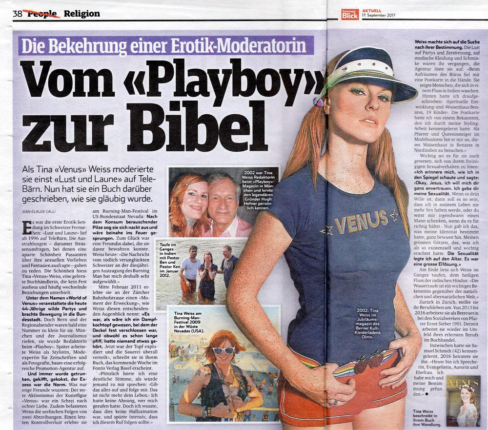 Sonntagsblick September 2017   «Die Bekehrung einer Erotik-Moderatorin» von Jean-Claude Galli  .