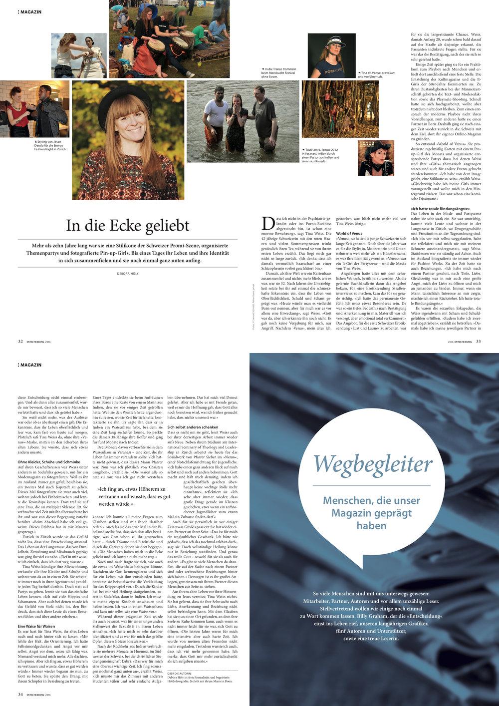 Sonderausgabe Entscheidung 2016   «In die Ecke geliebt» von Debora Höly