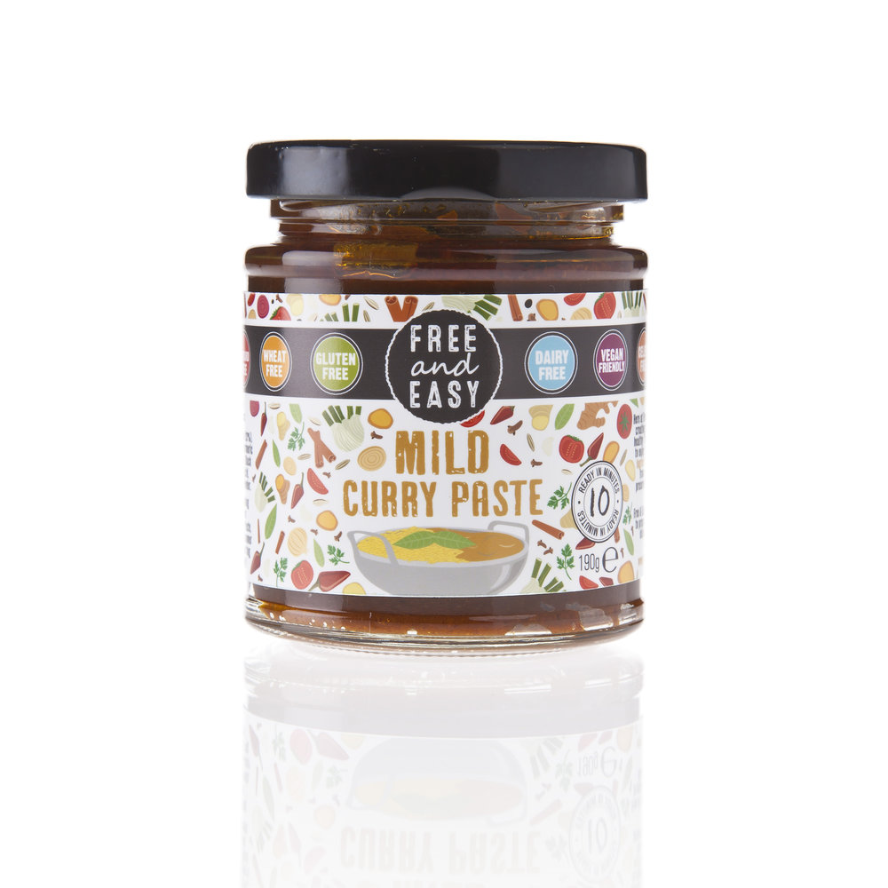 Free and Easy Mild Curry Paste - A combination of tomatoes, onions, garlic and traditional curry spices.190g