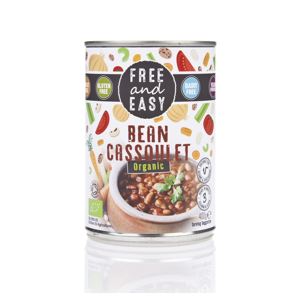 Free and Easy Bean Cassoulet - A low-fat delicious mix of cannellini, pinto and haricot beans in a rich and warming tomato sauce. 400g