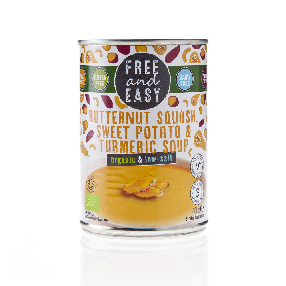 Free and Easy -Butternut Squash & Sweet Potato &  Turmeric - Low Salt Soup - Organic and delicious. Low fat and low salt butternut squash, sweet potato and turmeric soup.400g