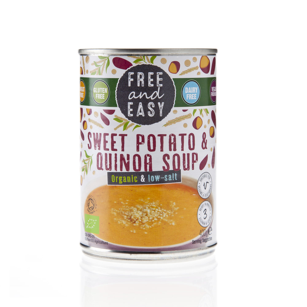 Free and Easy - Sweet Potato & Quinoa - Low Salt Soup - Organic and low salt soup with sweet potato and quinoa and nothing else.400g