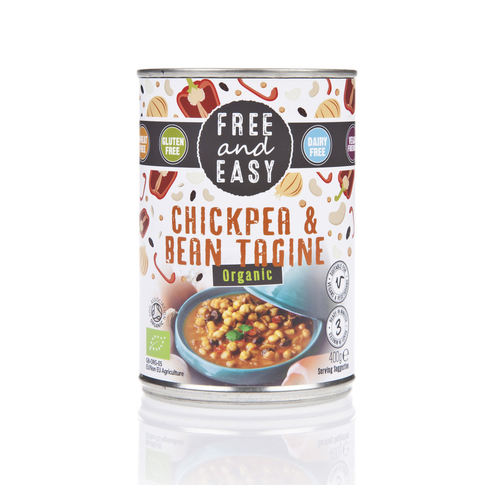 Free and Easy Chickpea & Bean Tagine - A low-fat rich Moroccan style stew cooked with onions, red peppers, raisins and traditional spices.400g
