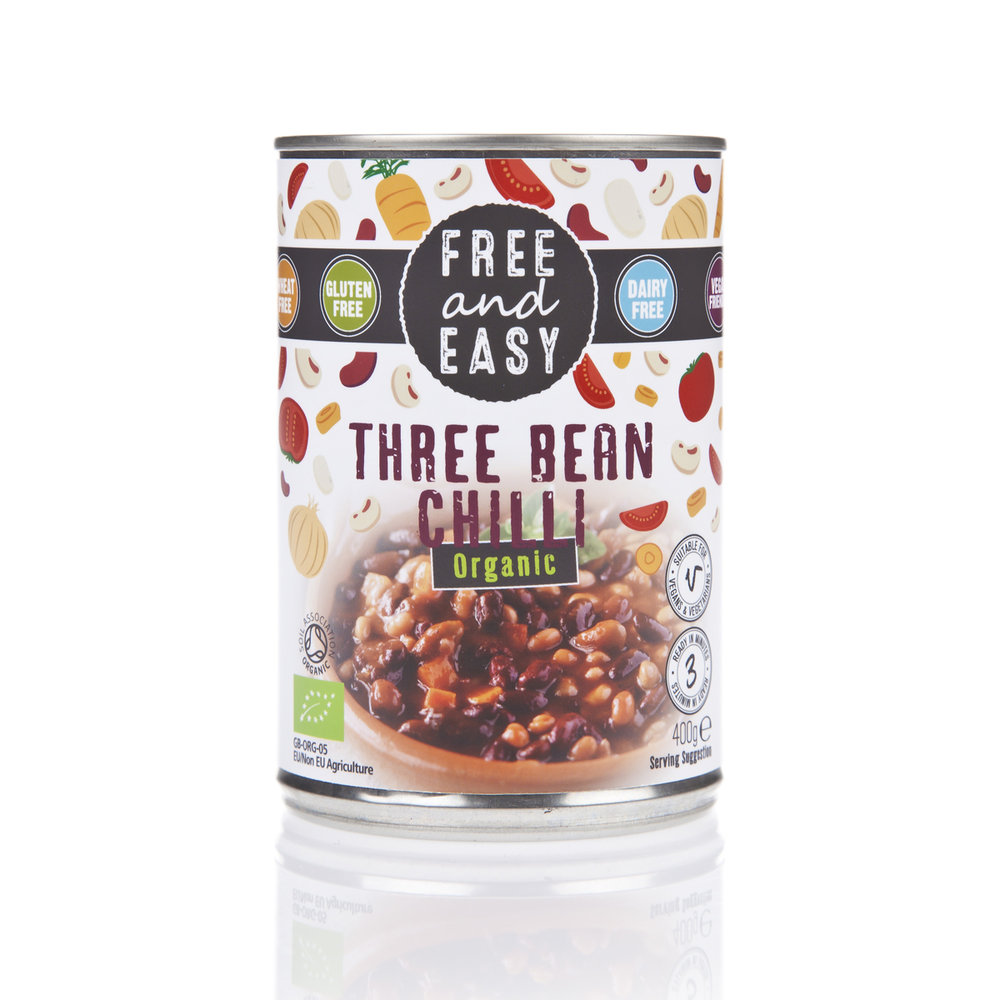 Free and Easy Three Bean Chilli - A delicious low-fat mix of beans and vegetables in a medium-spiced sauce.400g