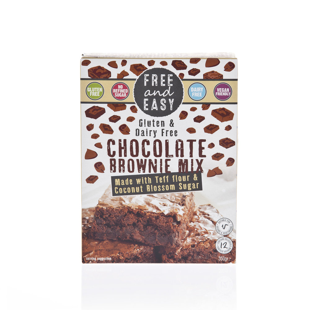 Free and Easy Chocolate Brownie Mix - Made with teff flour and coconut blossom sugar.