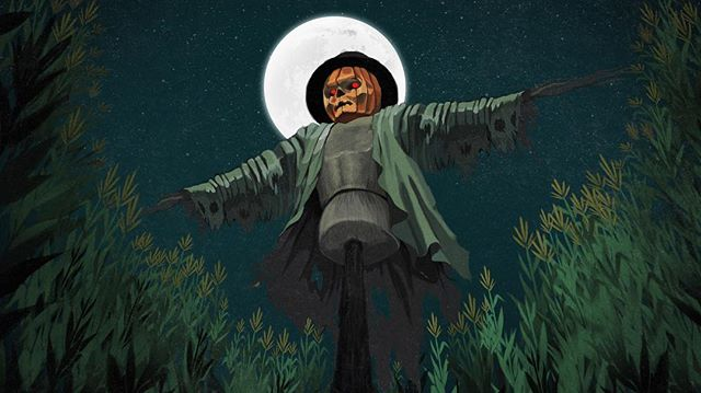 Happy November (which also happens to be my birth month). An illustration I did last year for SYFY's 31 Days of Halloween when I was working at LK. #syfy #31daysofhalloween #illustration #scarecrow #november #digitalillustration #pumpkin #skull