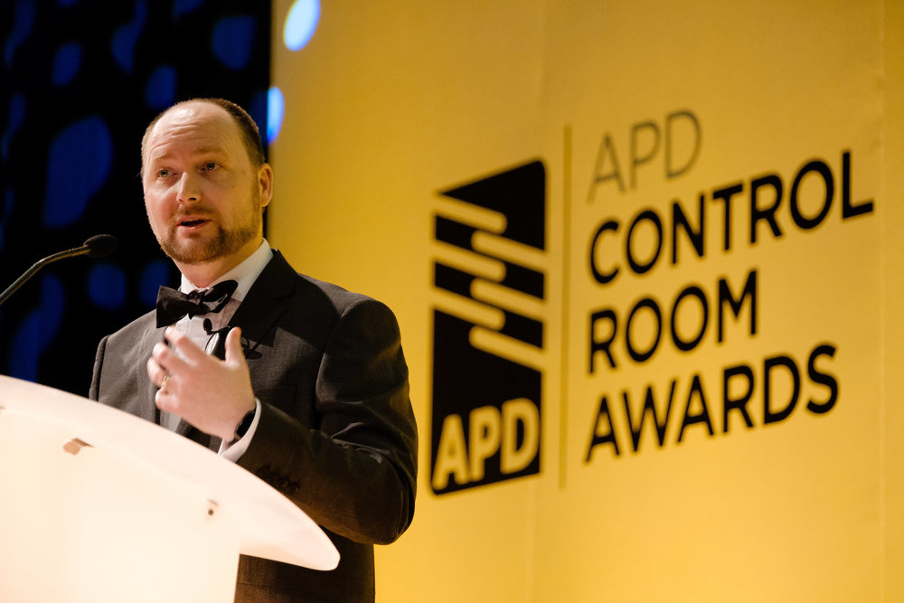 APD Managing Director Mike Isherwood speaking at last year's inaugural Control Room Awards.