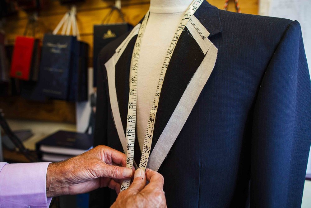 2. MEASUREMENTS AND CLOTH SELECTION - Visit us at 8 Duke Street Darlington where your measurements are taken, we can also travel to you in London and local areas. During your initial visit we will discuss your design, fittings and the best bit..you'll choose your cloth and linings.