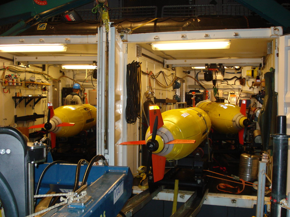 AF447 search operations, multi-vehicle operation from one vessel. Three 6000m REMUS AUVs working simultaneously.