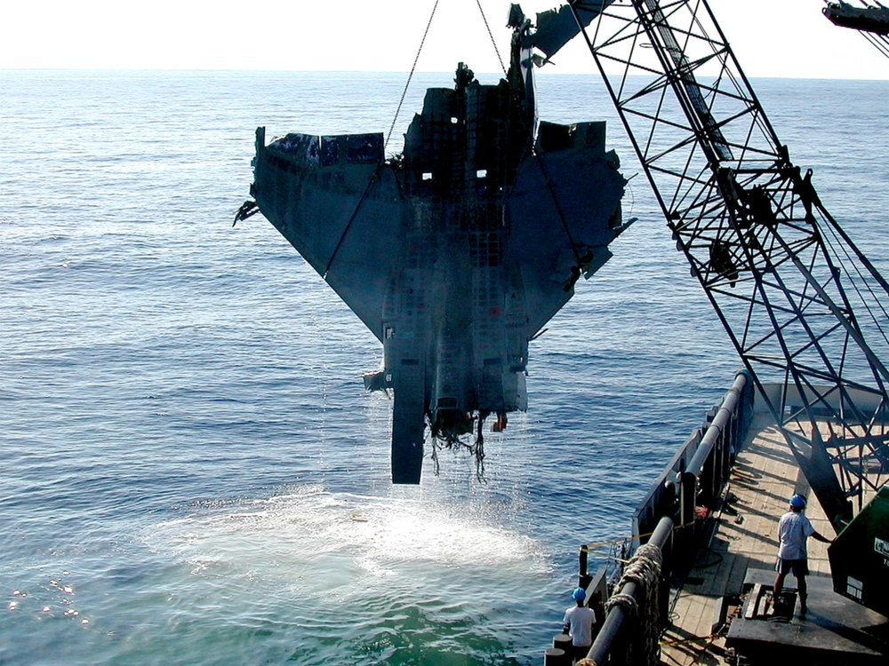 Involved in several shallow and deep water search and salvage operations since 1996. F15 recovery, photo SupSalv US Navy.