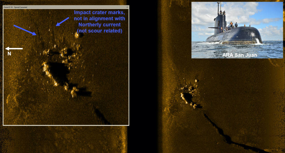 Side Scan Sonar image of submarine ARA San Juan, produced from one of five AUVs used in the successful search.   Consultant for Ocean Infinity as Co-Project Leader responsible for the loss analysis and determining underwater search area and search parameters used in locating the missing Argentine Submarine, the ARA San Juan. Lost 15 November 2017 with 44 souls on-board off the coast of Argentina.
