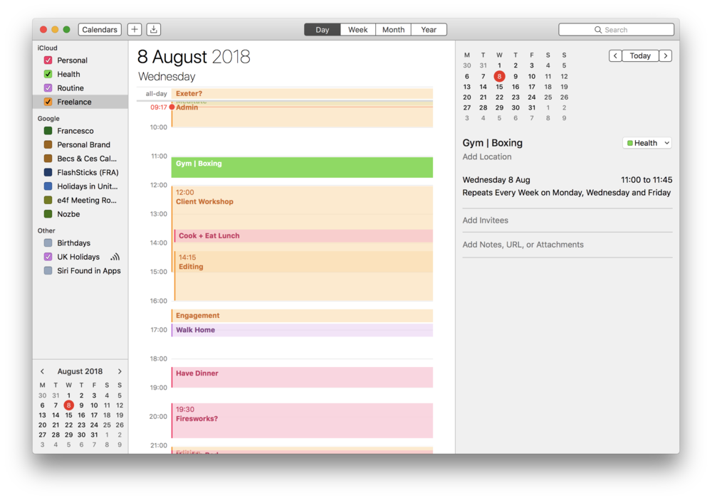 This is the day view on Apple Calendar, with calendar blocking all in.