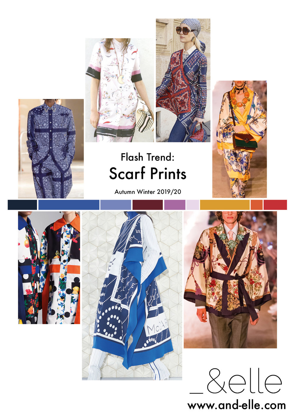 Scarf Prints are going to be a key print design trend across the next three season. Foulards, borders and paisleys are all important features of this trend.