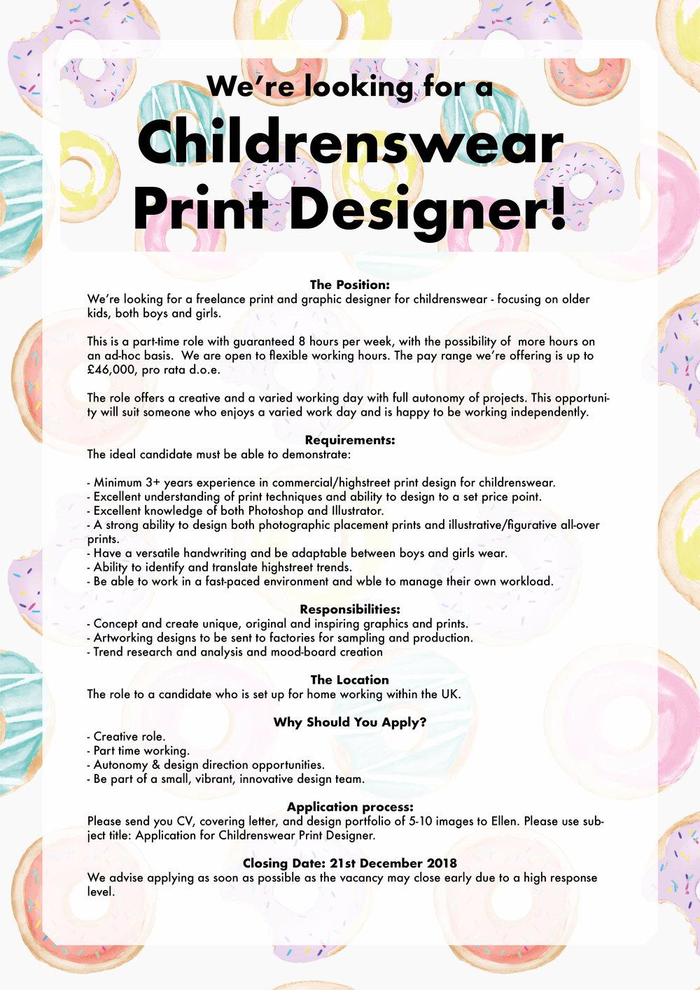 Childrenswear kidswear designer print pattern fashion freelance