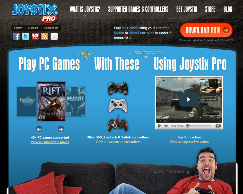 Joystix Pro - joystix Pro allows people to use their game controllers, such as an Xbox One controller, on any PC game that does not include controller support natively.  With a very strong focus on ease of use Joystix Pro users are able to get going in their favorite games without any time spent customizing controls.