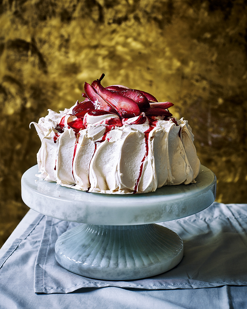 Port poached pear pavlova