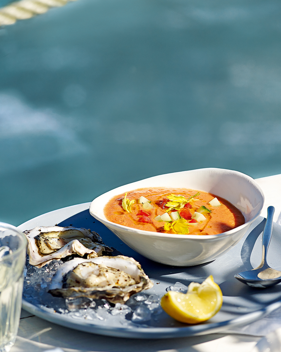 Bloody Mary gazpacho with oysters