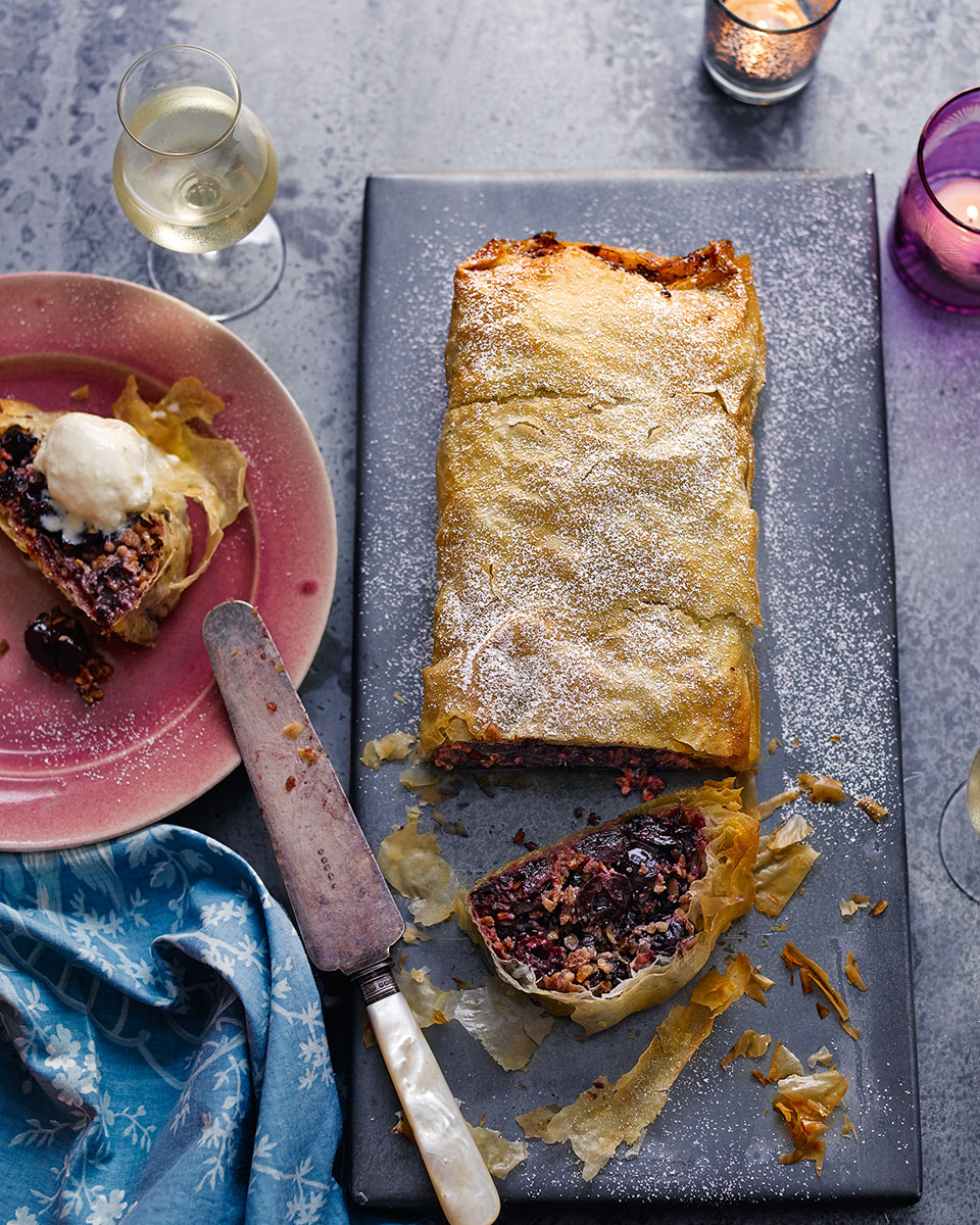 Cherry and almond strudel with hazelnut milk ice cream