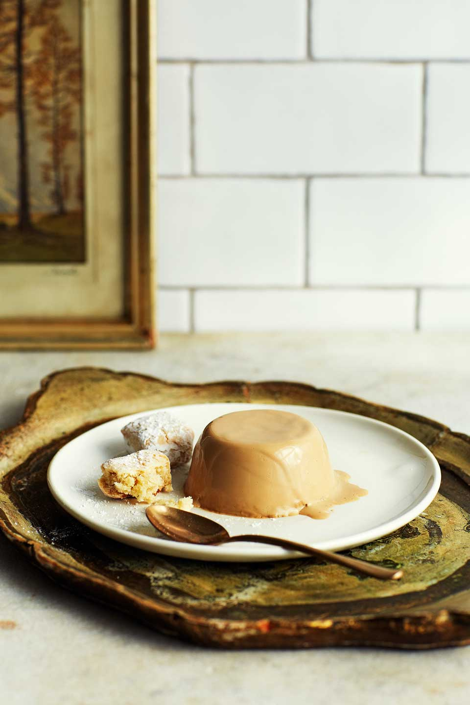 Coffee pannacotta and hazelnut ricciarelli