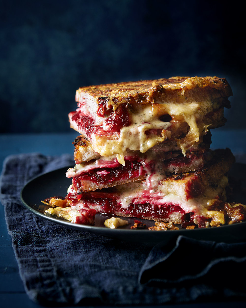 Ham and cheese toastie with beetroot and chilli chutney