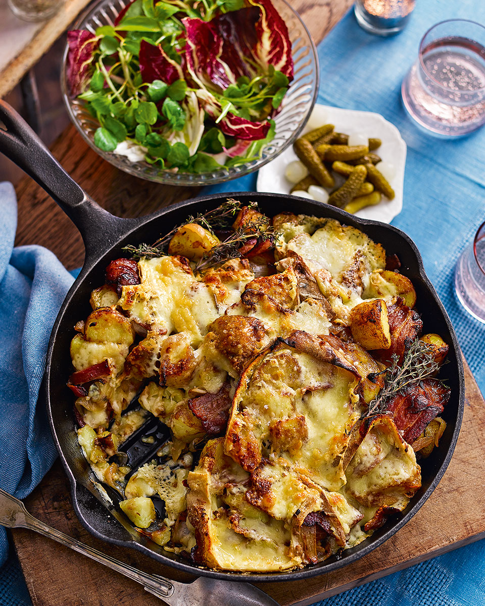 Raclette, potato and bacon gratin