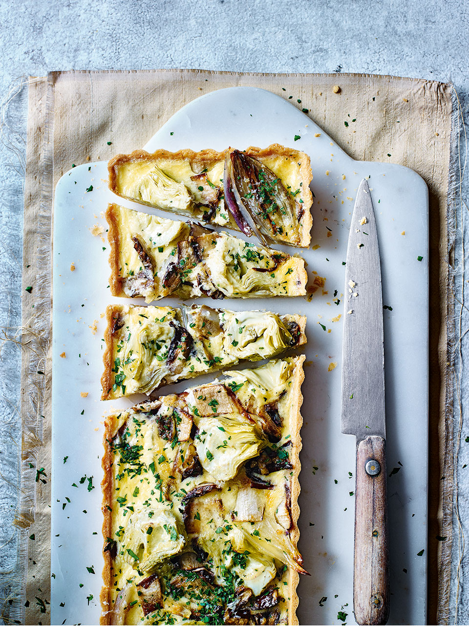Radicchio and artichoke tart