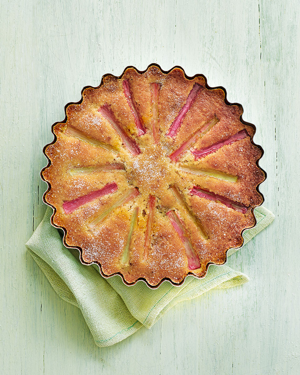 Rhubarb and amaretti cake with orange and rosemary glaze