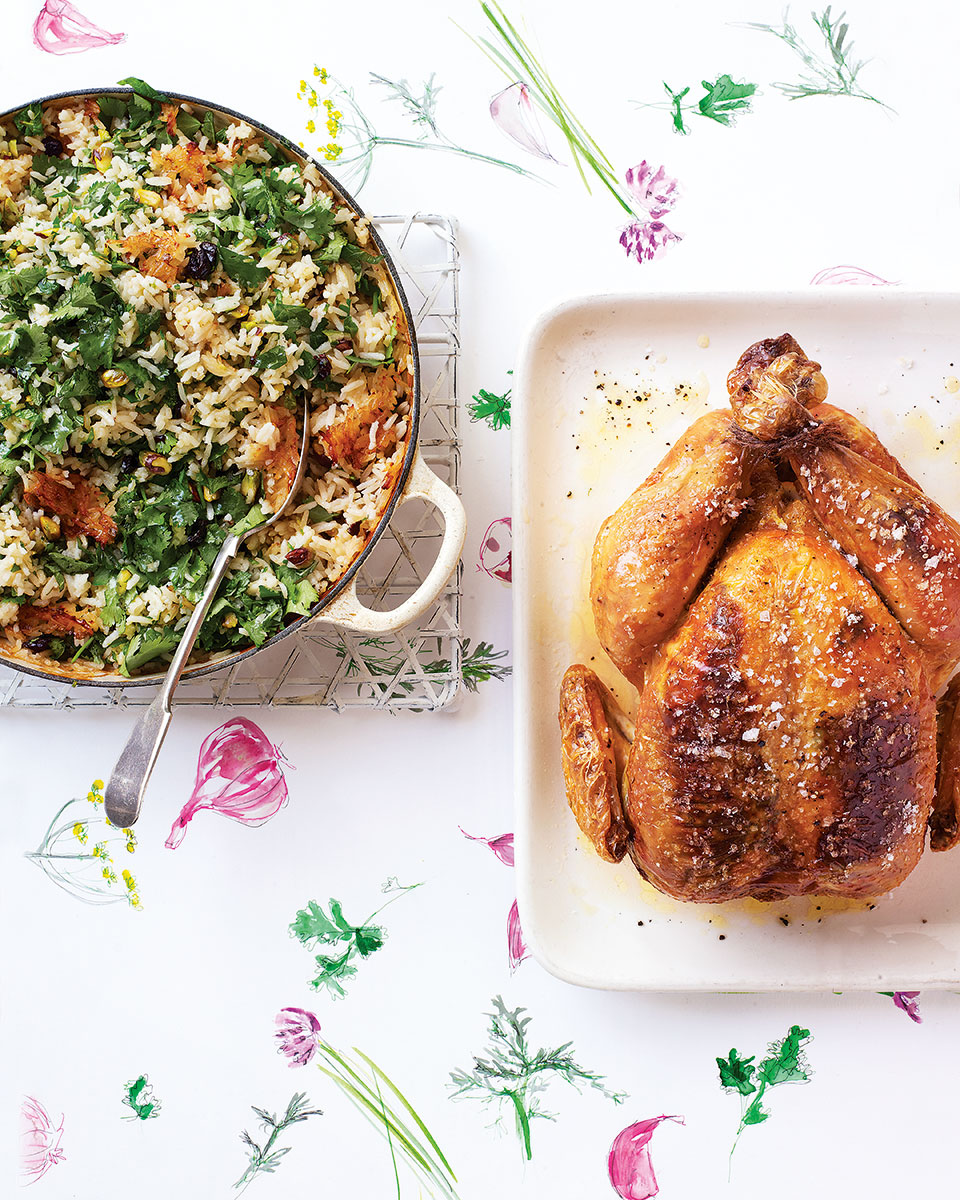 Garlic-stuffed chicken with pistachio, sour cherry and herb pilaf